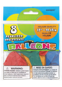 Assorted Colours - Pearlized 12in Latex Balloon 8pk