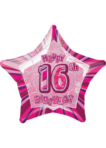 Number 16 - Pink Star Happy 16th Birthday Prismatic 20in Foil Balloon