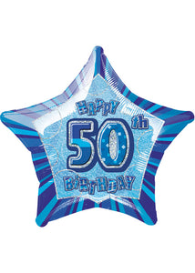 Number 50 - Blue Star Happy 50th Birthday Prismatic 20in Foil Balloon