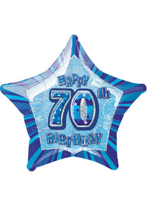 Number 70 - Blue Star Happy 70th Birthday Prismatic 20in Foil Balloon