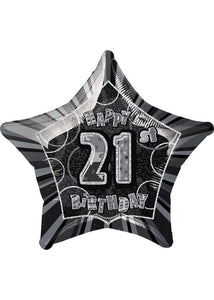 Number 21 - Black Star Happy 21st Birthday Prismatic 20in Foil Balloon