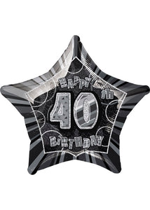 Number 40 - Black Star Happy 40th Birthday Prismatic 20in Foil Balloon