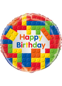 Building Blocks Happy Birthday 18in Foil Balloon