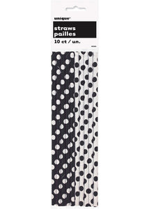 Paper Straws - Dots - Midnight Black and White Dots 10pk