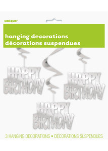 Happy Birthday Swirl Hanging Decoration - Silver Foil 3pk