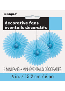 Blue - Powder Blue Fan - Decorative Fan 3pk - 6in