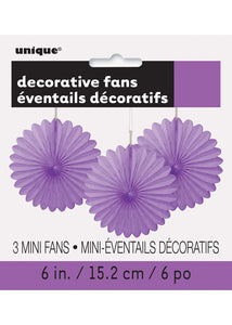 Purple - Pretty Purple Fan - Paper Fan 3pk - 6in