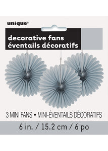 Silver Fan - Decorative Fans 3pk - 6in