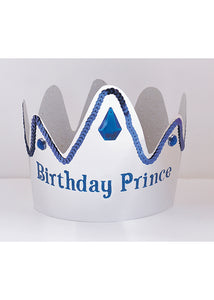 Novelty - Birthday Prince Foil Crown with Gems