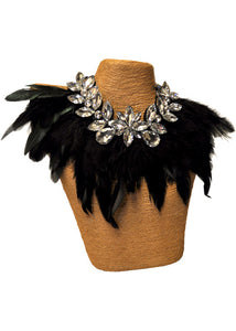 Feather Necklace With Stones - Black