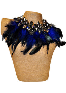 Feather Necklace With Stones - Royal Blue