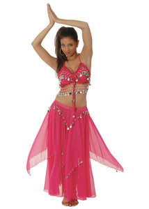Belly Dancer - Fuschia with Gold Coins