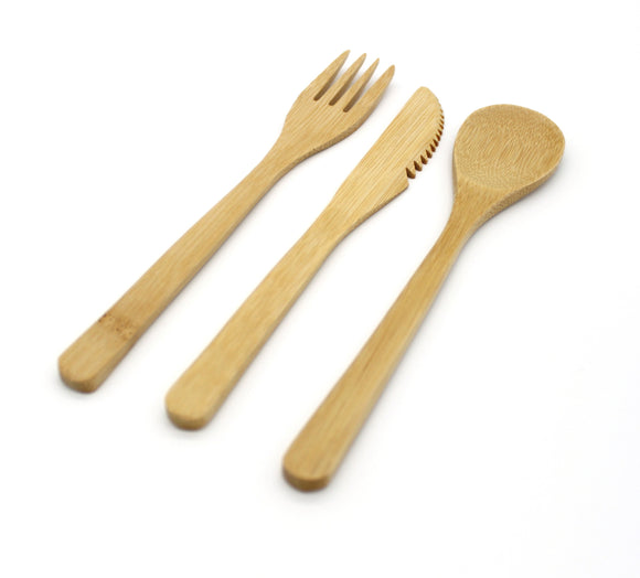 Bamboo cutlery set of three