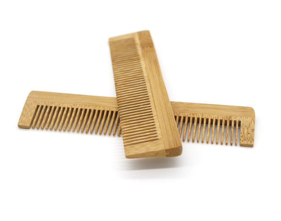 Two plastic free eco bamboo combs