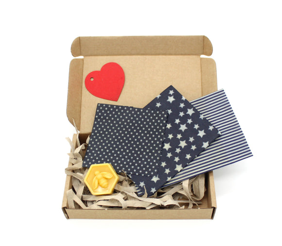 Gift box with three beeswax wraps and a refresher bar