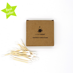 "Bamboo Cotton buds with green ""best seller"" star"
