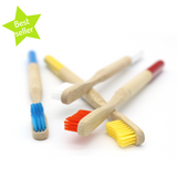 Four coloured bamboo toothbrushes with best seller green star
