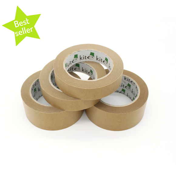 Plastic free brown paper kraft tape stack of four rolls with green