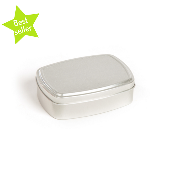 Silver lightweight rust free aluminium tin ideal for soap and shampoo. Plastic free with green