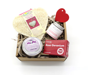Plastic free valentines gift set with moisturiser, natural deodorant, loofah and soap