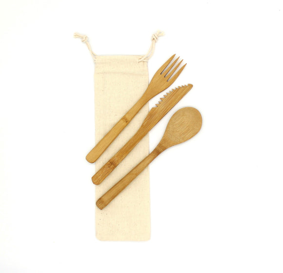 Canvas bag with bamboo cutlery