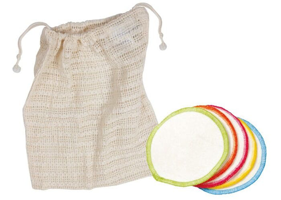 Organic Cotton round make up wipes and cotton wash bag