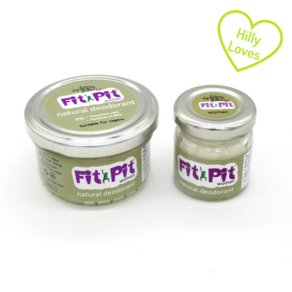 Small jar, 25ml and large jar 100ml of organic all natural womens fit pit deodorant with green
