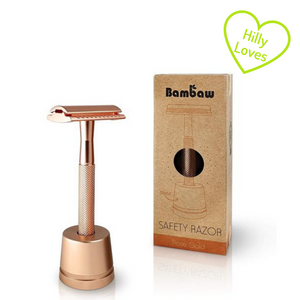 "Rose gold metal safety razor with stand and green ""hilly loves"" heart"