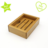 "Plastic free eco friendly bamboo soap dish with removable tray with green ""best seller"" star and ""hilly loves"" heart"