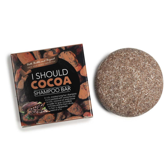 I Should Cocoa solid round shampoo bar with cardboard box plastic free