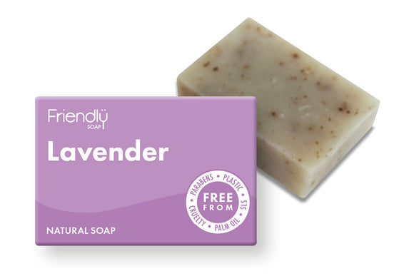 Lavender plastic free soap bar and cardboard box