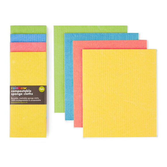 Compostable sponge cloths four pack rainbow colour
