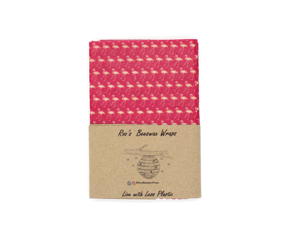 Beeswax Wraps - 3 Large Wraps.  Flamingo (White on Pink)