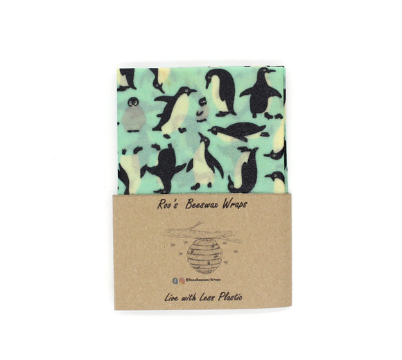 Beeswax Wraps - 3 Large Wraps.  Penguins