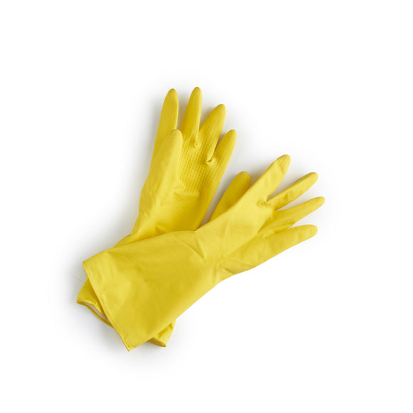 pair of yellow sustainable rubber gloves with textured grip