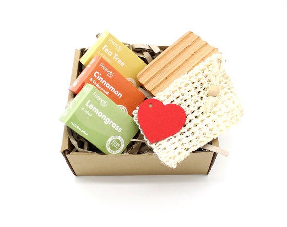 Exotic soap gift set with eco friendly gift box, hemu wood soap dish and sisal soap bag