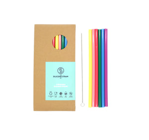 Silicone straws in rainbow colours with cleaning brush and paper packet