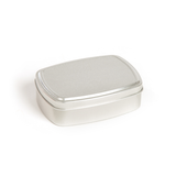 Silver lightweight rust free aluminium tin ideal for soap and shampoo. Plastic free