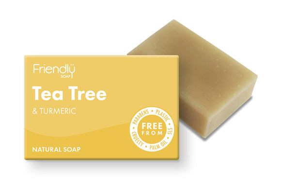 Tea tree and turmeric plastic free soap bar and cardboard box