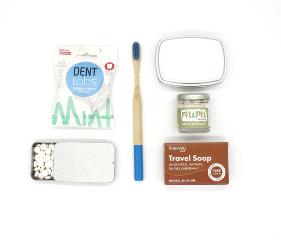 Travel set bamboo toothbrush, deodorant, travel soap, denttabs toothpaste tablets, soap tin, tablet tin