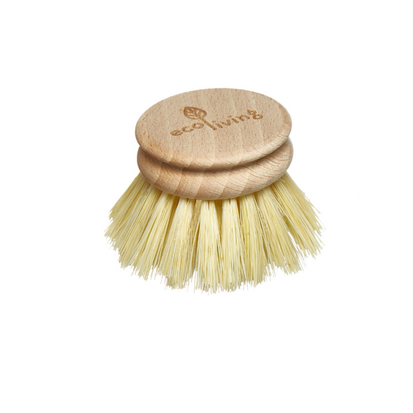 Replacement head for wooden dish brush with all natural plastic free head and bristles