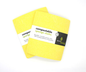 Two packs of yellow sponge cloths