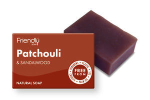 Patchouli and sandalwood plastic free soap bar and cardboard box