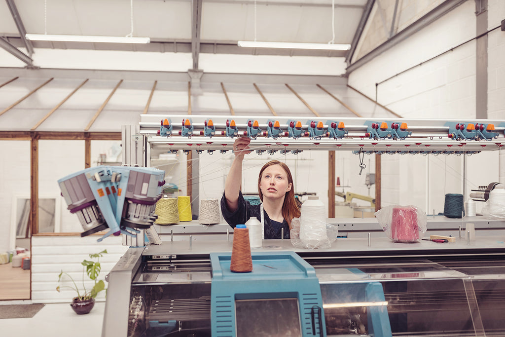 OUBAS founder Kate Stalker with knitting machinery