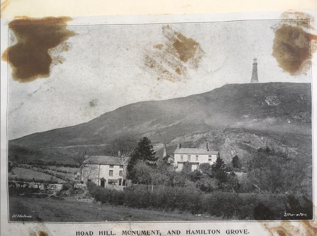 An old photogrpah of Oubas Hill and Hoad Monument, Ulverston