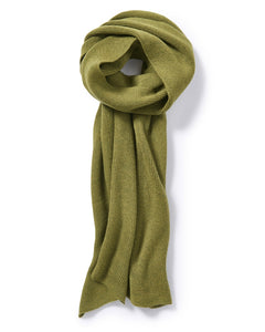 Fine Merino Ribbed Wrap in Olive