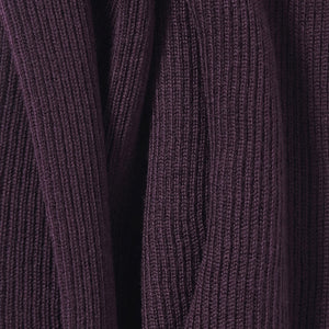 Fine Merino Ribbed Wrap in Aubergine