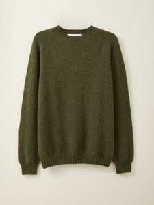 Mens Lambswool Seamless Jumper in Moss