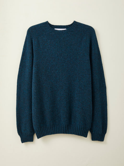 Mens Lambswool Seamless Jumper in Petrol