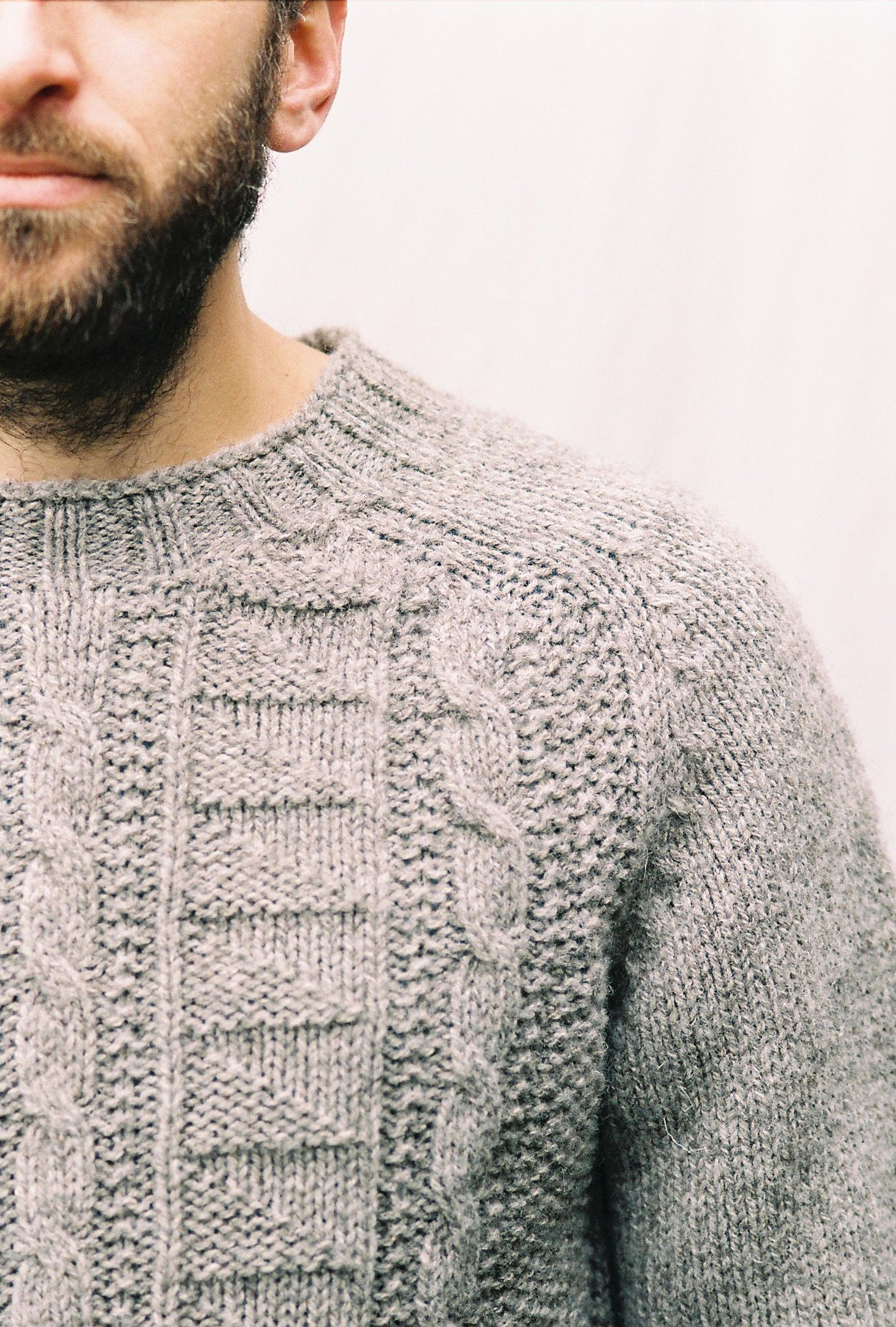 Mens British Wool Cabled Jumper in Charcoal